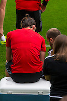 Gareth Bale appears to speak with a physio during the Wales open Training session ahead of the opening FIFA World Cup 2018 Qualification match against Moldova at The Vale Resort, Cardiff, Wales on 31 August 2016. Photo by Mark  Hawkins / PRiME Media Images.