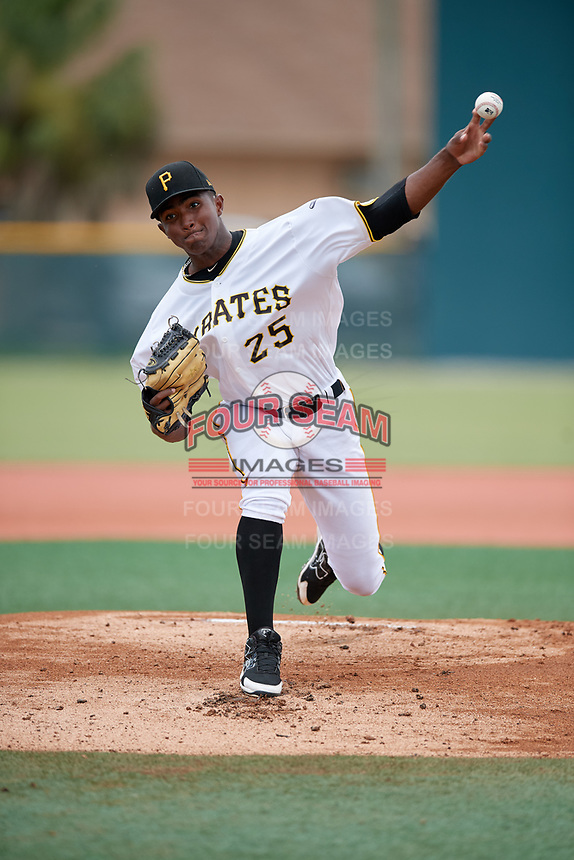 GCL Pirates starting pitcher Randy Jimenez (25) delivers a pitch during the second game of a doubleheader against the GCL Yankees East on July 31, 2018 at Pirate City Complex in Bradenton, Florida.  GCL Pirates defeated GCL Yankees East 12-4.  (Mike Janes/Four Seam Images)