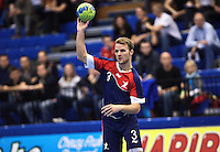 02 NOV 2011 - LONDON, GBR - Britain's Ciaran Williams (#03 - blue and red) prepares to pass during the Men's 2013 World Handball Championship qualification match against Israel at the National Sports Centre at Crystal Palace (PHOTO (C) NIGEL FARROW)