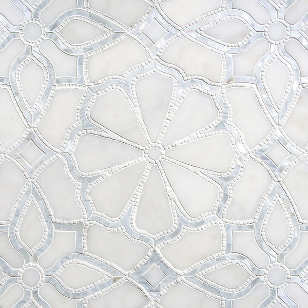 Stella, a handmade mosaic shown in honed Afyon White, tumbled Thassos and Shell. Designed by Sara Baldwin for New Ravenna.<br />