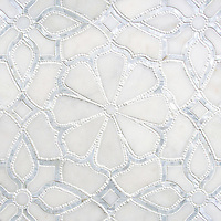 Stella, a handmade mosaic shown in honed Afyon White, tumbled Thassos and Shell. Designed by Sara Baldwin Designs for New Ravenna.<br />