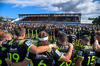 The Hurricanes huddle fatre the Super Rugby preseason match between the Hurricanes and Crusaders at Levin Domain in Levin, New Zealand on Saturday, 2 February 2019. Photo: Dave Lintott / lintottphoto.co.nz