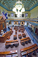 View from the balcony overlooking the Senate Chamber of the South Carolina State Capitol building.  Portrait of Vice-President John C. Calhoun hangs in the center of the room.