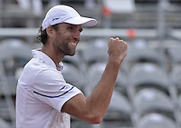 BOGOTÁ -COLOMBIA. 17-07-2013. Ivo Karlovic (CRO)  celebra después de ganar el juego contra Igor Sijsling (HOL) de la segunda ronda del ATP Claro Open Colombia 2013 en el centro de Alto Rendimiento en la ciudad de Bogotá./ Ivo Karlovic (CRO) celebrates after winning the match against Igor Sijsling (HOL) on second round of ATP Claro at Centro Alto Rendimiento in Bogota city. Photo: VizzorImage / Str