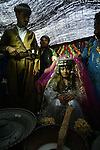 ERBIL, IRAQ: The bride and groom at a Kurdish wedding ceremony...Images from a traditional Kurdish wedding in Iraqi Kurdistan...Photo by Safin Hamid/Metrography