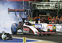 Jun 17, 2016; Bristol, TN, USA; NHRA top fuel driver Steve Torrence during qualifying for the Thunder Valley Nationals at Bristol Dragway. Mandatory Credit: Mark J. Rebilas-USA TODAY Sports
