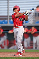 Williamsport Crosscutters catcher Brett Barbier (8) at bat during a game against the Auburn Doubledays on June 26, 2016 at Falcon Park in Auburn, New York.  Auburn defeated Williamsport 3-1.  (Mike Janes/Four Seam Images)