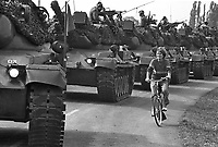 - NATO exercises in Germany, German Army Leopard  tanks in a village (October 1983)....- esercitazioni NATO in Germania, carri armati Leopard dell'esercito tedesco in un villaggio (ottobre 1983)