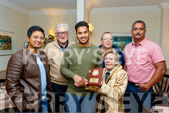 Blanche Rutland, President of Kerry Cricket Club, presents Awais Saghir with the player of the year award at the KCC annual awards night in the Oyster Tavern, the Spa, Tralee last Saturday, also pictured are L-R Imran Khan, vice Cpt, Dave Ramsey, chairperson,Richard Rutland, club Sec and Prince Thomas, Cpt.