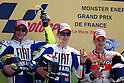 May 23, 2010 - Le Mans, France - (L-R) Valentino Rossi, Jorge Lorenzo and Andrea Dovizioso celebrate on the podium the victory at the end of the MotoGP race of the French Grand Prix on May 23, 2010 in Le Mans, France. (Photo Andrew Northcott/Nippon News).