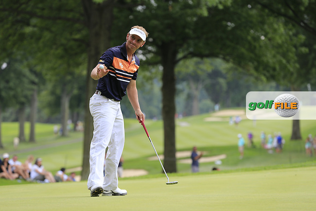 Joost LUITEN (NED) sinks his putt on the 8th green during Friday's Round 2 of the WGC Bridgestone Invitational, held at the Firestone Country Club, Akron, Ohio.: Picture Eoin Clarke, www.golffile.ie: 1st August 2014