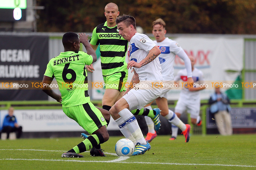 Dale Bennett of Forest Green Rovers and Oliver Hawkins of Dagenham during Forest Green Rovers vs Dagenham & Redbridge, Vanarama National League Football at The New Lawn on 29th October 2016