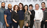 "Greg Keller, Ugo Chukwu, Margot Bordelon, Mara Nelson-Greenberg, Tiffany Villarin, Megan Hill, Tom Aulino, and Justin Long. attends the photo call for the Vineyard Theatre production of ""Do You Feel Anger?"" at the Vineyard Theater Rehearsal studio Theatre on February 14, 2019 in New York City."