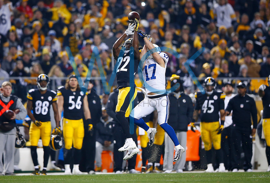 William Gay #22 of the Pittsburgh Steelers tips a pass in front of Griff Whalen #17 of the Indianapolis Colts before it was intercepted by teammate Brandon Boykin #25 of the Pittsburgh Steelers in the first half during the game at Heinz Field on December 6, 2015 in Pittsburgh, Pennsylvania. (Photo by Jared Wickerham/DKPittsburghSports)