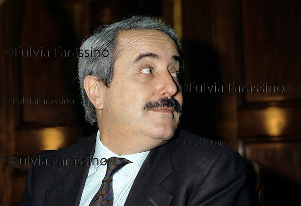 "Milano, 1990 Giovanni Falcone alla presentazione del libro di Claire Sterling sulla mafia Siciliana: ""Octopus: The Long Reach of the International Sicilian Mafia"" .Giovanni Falcone,Italian magistrate pictured in Milano during the presentation book ""Octopus: The Long Reach of the International Sicilian Mafia"" by Claire Sterling."