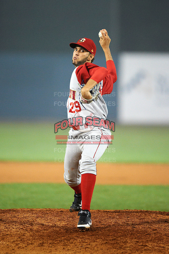 Brooklyn Cyclones pitcher Gabriel Ynoa #29 during the NY-Penn League All-Star Game at Eastwood Field on August 14, 2012 in Niles, Ohio.  National League defeated the American League 8-1.  (Mike Janes/Four Seam Images)