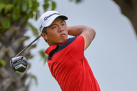Andy ZHANG (CHN) watches his tee shot on 12 during Rd 4 of the Asia-Pacific Amateur Championship, Sentosa Golf Club, Singapore. 10/7/2018.<br /> Picture: Golffile | Ken Murray<br /> <br /> <br /> All photo usage must carry mandatory copyright credit (&copy; Golffile | Ken Murray)