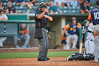 Umpire Lee Meyers handles the calls behind the plate during the game between the Salt Lake Bees and the Las Vegas Aviators at Smith's Ballpark on July 20, 2019 in Salt Lake City, Utah. The Aviators defeated the Bees 8-5. (Stephen Smith/Four Seam Images)