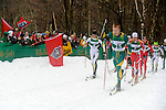 11 MAR 2011: Erik Bjornsen (25) of the University of Alaska - Anchorage and Vegard Kjoelhamar (4) of the University of Colorado lead the pack up a climb in the men's 20km Classical Cross Country race during the 2011 NCAA Men and Women's Division I Skiing Championship held Stowe Mountain Resort and Trapp Family Lodge in Stowe, VT. Bjornsen placed 2nd to take silver, Kjoelhamar placed 3rd to take bronze. ©Brett Wilhelm/NCAA Photos