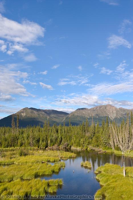 St. Elias mountain range in Kluane National Park, Yukon Territory, Canada, along the Alcan highway.