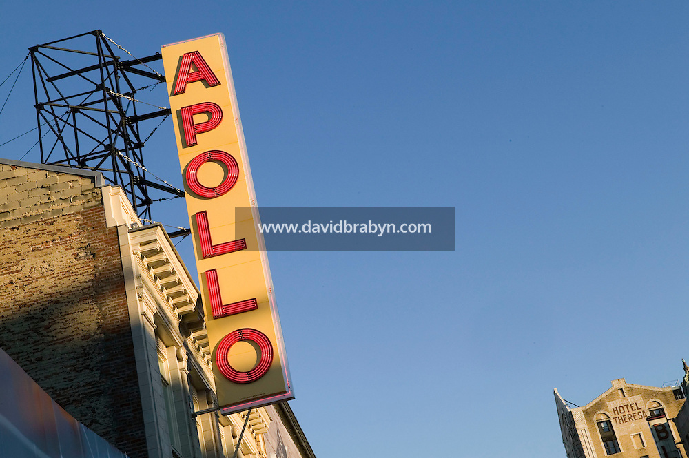 16 December 2005 - New York City, NY - View of the renovated Apollo theater sign on the faade of the building on 125th street in Harlem, New York City, USA, 16 December 2005. The famous theater, home of the Amateur Nights at The Apollo, reopens in February with a renovated facade and new seats.