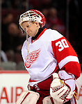 21 November 2009: Detroit Red Wings' goaltender Chris Osgood, warms up prior to a game against the Montreal Canadiens at the Bell Centre in Montreal, Quebec, Canada. The Canadiens, wearing their original season 1909-10 throwback uniforms fell to the visiting Red Wings in a 3-2 shootout. Mandatory Credit: Ed Wolfstein Photo