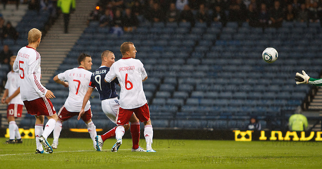 Charlie Adam's shot is deflected into the net for the Scotland opener