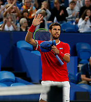 3rd January 2020; RAC Arena, Perth, Western Australia; ATP Cup Australia, Perth, Day 1, Russia versus Italy; Karen Khachanov of Russia celebrates winning his match against Stefano Travaglia of Italy 2 sets to love - Editorial Use