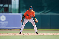 Baltimore Orioles shortstop Milton Ramos (47) during an Instructional League game against the Atlanta Braves on September 25, 2017 at Ed Smith Stadium in Sarasota, Florida.  (Mike Janes/Four Seam Images)