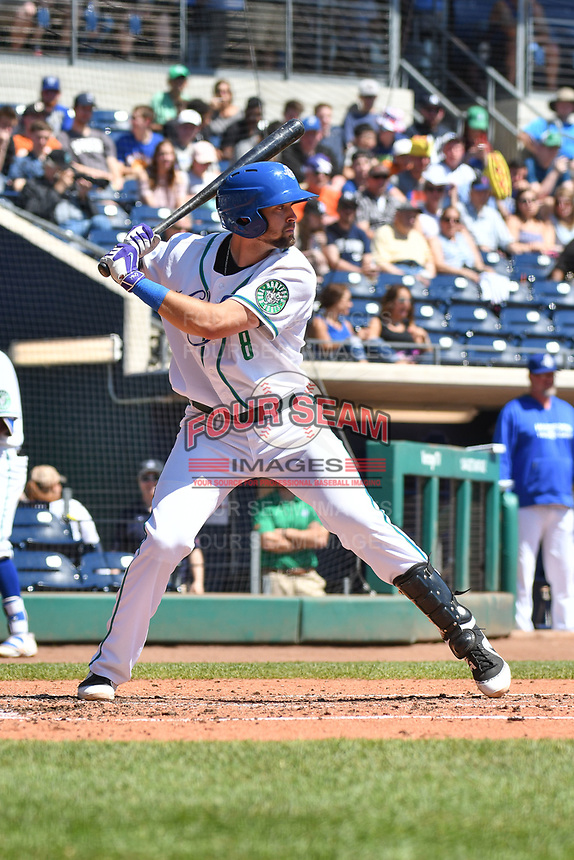 Ryan Metzier (8) of the Hartford Yard Goats stands in the batters box during a game against the Binghamton Rumble Ponies at Dunkin Donuts Park on May 9, 2018 in Hartford, Connecticut. (Gregory Vasil/Four Seam Images)