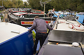 Houseboat on the River Lea, Hackney, London. Lee Valley Marina.