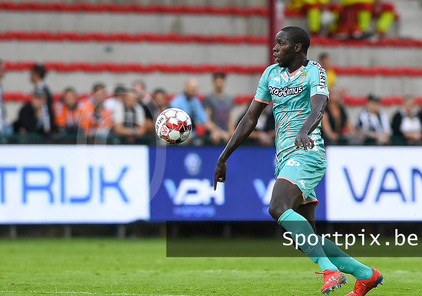 KORTRIJK , BELGIUM - AUGUST 03 : Christophe Diandy of Charleroi pictured during the Jupiler Pro League match day 2 between Kv Kortrijk and Sporting Charleroi on August 03 , 2019 in Kortrijk , Belgium . ( Photo by David Catry / Isosport )