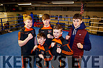 Jordan Coffey, Dean Martin, Paddy Walsh, Sean O'Brien and Barry O'Connor, members of Sliabh Luachra Boxing Club, who took part in the Tralee Boxing Club annual tournament on Sunday last.
