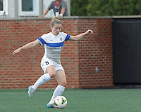 Allston, Massachusetts - August 1, 2015:  In a National Women's Soccer League (NWSL) match, Seattle Reign (white) defeated Boston Breakers (blue), 2-1, at Soldiers Field Soccer Stadium.