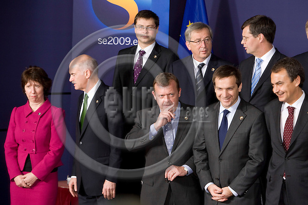 BRUSSELS - BELGIUM - 10 DECEMBER 2009 --  EU Summit -- From left first row: EU's foreign policy chief Catherine Ashton, the heads of state George Papandreou, Greece, Lars Loekke Rasmussen,  Denmark, Gordon Bajnai, Hungary, Jose Luis Rodriguez Zapatero, Spain. Second row from left: Valdis Dombrovskis, Latvia, Jean-Claude Juncker, Luxembourg, and Jan Peter Balkenende, Holland. PHOTO: ERIK LUNTANG / EUP-IMAGES