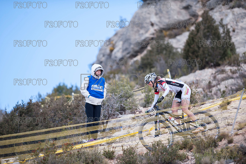 Chelva, SPAIN - MARCH 6: Katrin Leumann during Spanish Open BTT XCO on March 6, 2016 in Chelva, Spain