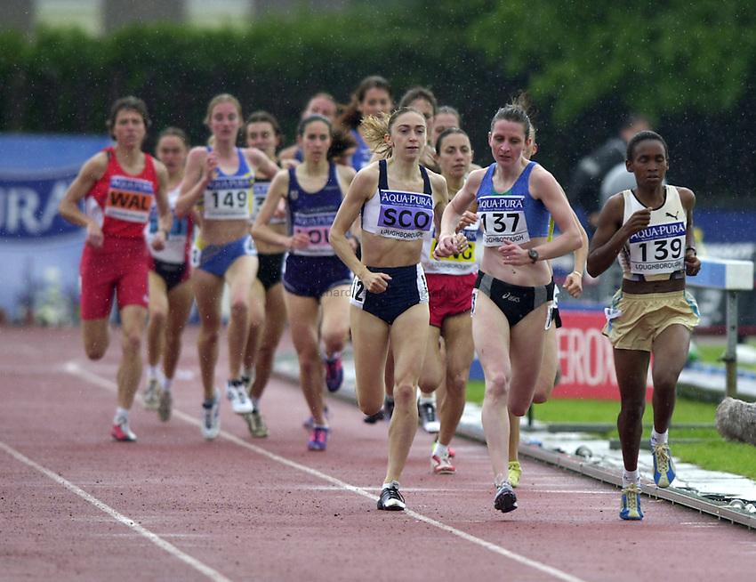 Photo. Richard Lane. .Aqua-Pura International Athletics at Loughborough. 18-5-2002..Hayley Ovens (SCO), Susan Scott (137) and Jackline Maranga (139) compete in the Women's 1500 metres.