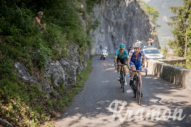 Daniel Martin (IRE/QuickStep Floors) &amp; Jakob Fuglsang (DEN/Astana) manage to break free from the leaders group and storm their way up the finishing (&amp; GC decisive) climb of the Dauphin&eacute;: the Plateau de Solaison (HC/1508m/11.3km @9.2%)<br /> <br /> 69th Crit&eacute;rium du Dauphin&eacute; 2017<br /> Stage 8: Albertville &gt; Plateau de Solaison (115km)