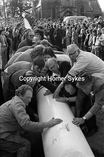 Raising the Maypole Barwick in Elmet, Yorkshire England 1975