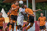 12.07.2017, Parkstadion, Zell am Ziller, AUT, TL Werder Bremen 2017 - FSP SV Werder Bremen (GER) vs Wolverhampton Wanderers (ENG)<br /> <br /> im Bild<br /> Lamine San&eacute; / Sane (Werder Bremen #26) im Duell / im Zweikampf, <br /> <br /> Foto &copy; nordphoto / Ewert