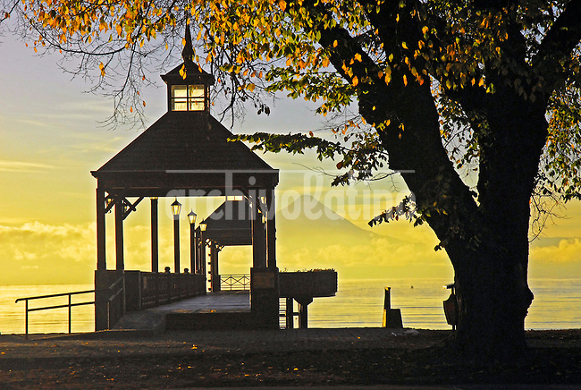 Pier over Llanquihue lake in Frutillar, South of Chile