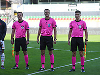 20191022 – OOSTENDE , BELGIUM : Polish referees pictured with Krzystof Jakubik (middle) , Bartosz Heinig and Adam Kupsik (left) during a soccer game between Club Brugge KV and Paris Saint-Germain ( PSG )  on the third matchday of the UEFA Youth League – Champions League season 2019-2020 , thuesday  22 th October 2019 at the Versluys Arena in Oostende  , Belgium  .  PHOTO SPORTPIX.BE | DAVID CATRY