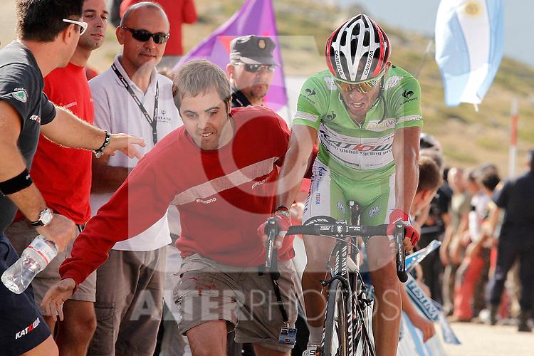 Joaquin Purito Rodriguez comes to the finsh line during the stage of La Vuelta 2012 beetwen La Faisanera Golf (Segovia)-La Bola del Mundo.September 8,2012. (ALTERPHOTOS/Acero)
