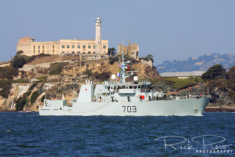 Canadian Navy Kingston class patrol Vessel HMCS Edmonton (MM 703) passes in front of Alcatraz Island on San Francisco Bay during the 2009 Fleet Week Parade of Ships. The Edmonton was launched on 31 October 1996 and was officially commissioned into the Canadian Forces on 21 June 1997 and carries the pennant number 703. HMCS Edmonton is assigned to Maritime Forces Pacific (MARPAC) and is homeported at CFB Esquimalt.