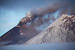 Eruption of Kliuchevskoi (Klyuchevskoy) Volcano, Kamchatka, Russia. Kamen volcano is seen on right.