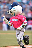 Asheville Tourists mascot Mr. Moon during a game against the Rome Braves on May 15, 2015 in Asheville, North Carolina. The Braves defeated the Tourists 6-0. (Tony Farlow/Four Seam Images)