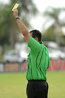 A referee presents a yellow card. The US U-20 Men's National Team defeated the U-20 Men's National Team of Costa Rica 2-1 in an international friendly during day four of the US Soccer Development Academy  Spring Showcase in Sarasota, FL, on May 25, 2009.