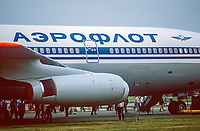 Aeroflot logo motif on Iluysin 11-86 aircraft at Farnborough International Air Show, September, 1984, 19840115AER<br />