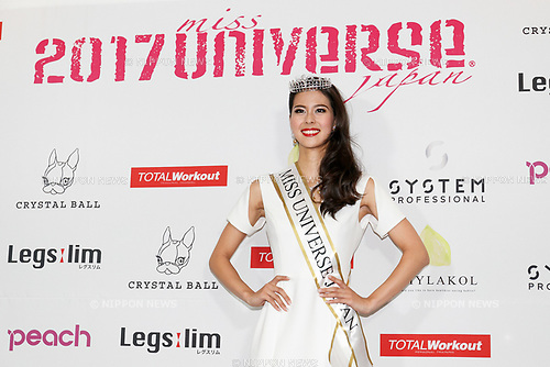Miss Universe Japan 2017 winner Momoko Abe poses for the cameras during a photo-call at the Miss Universe Japan competition at Hotel Chinzanso Tokyo on July 4, 2017, Tokyo, Japan. Momoko Abe from Chiba who won the title will represent Japan in the next Miss Universe competition. (Photo by Rodrigo Reyes Marin/AFLO)