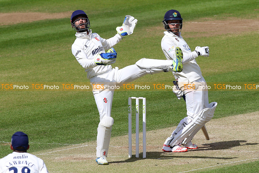 James Foster of Essex (L) and Glamorgan batsman Graham Wagg react to a high bouncing delivery - Glamorgan CCC vs Essex CCC - LV County Championship Division Two Cricket at the SWALEC Stadium, Sophia Gardens, Cardiff, Wales - 20/05/15 - MANDATORY CREDIT: TGSPHOTO - Self billing applies where appropriate - contact@tgsphoto.co.uk - NO UNPAID USE